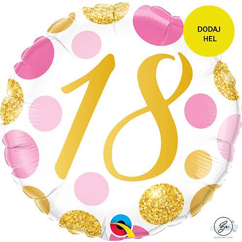 Balon foliowy 18 cali QL CIR 18 Urodziny, różowo-złote grochy