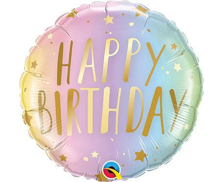 Balon foliowy 18 cali QL RND Happy Birthday, pastelowe ombre