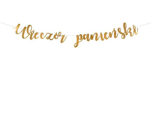 Baner Wieczór panieński, złoty, 150x21,5cm
