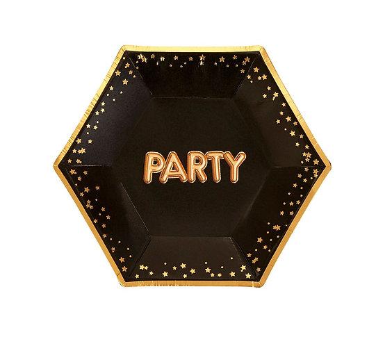 """Talerzyki papierowe """"Glitz & Glamour"""", złote, roz. 20 cm, 8 szt."""