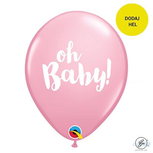 """Balon QL 11"""" z nadr. """"OH BABY!"""", pastel różowe"""