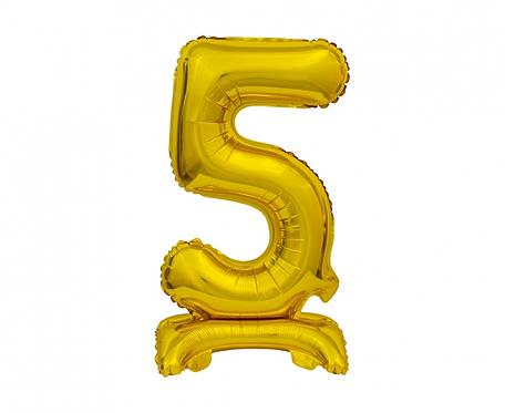 Balon foliowy B&C Cyfra stojąca 5, złota, 38 cm