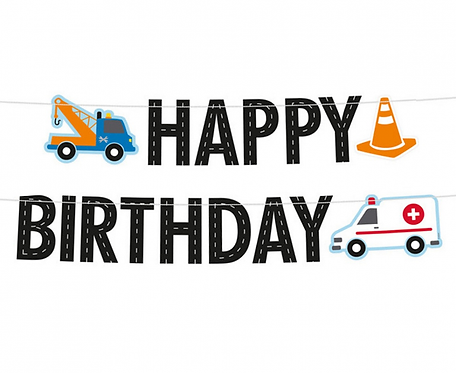 "Girlanda papierowa Happy Birthday ""On The Road"""