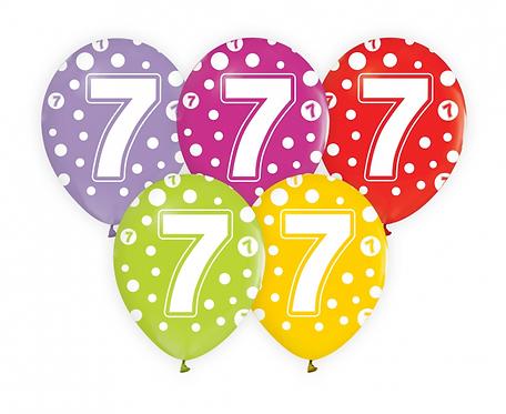 """Balony z cyframi: 7, 12""""/ 5 szt."""