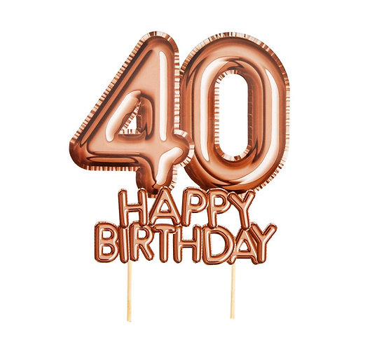 """Dekoracja na tort """"Glitz & Glamour"""", złoto-różowy napis 40 HAPPY BIRTHDAY"""