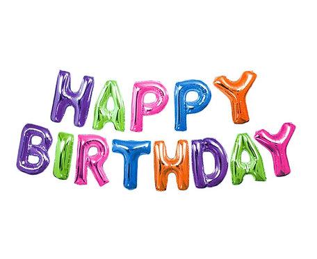 Banner HAPPY BIRTHDAY, balony litery, wysokość 35,5 cm, kolorowy