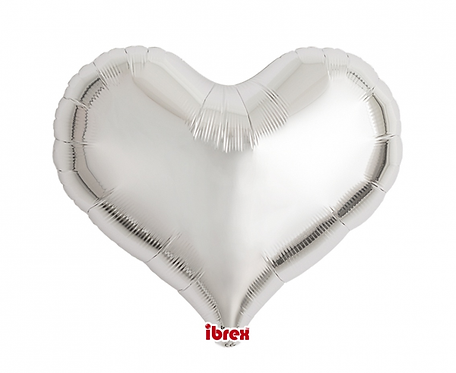 "Balon Ibrex , serce Jelly 18"", Metallic Silver,"