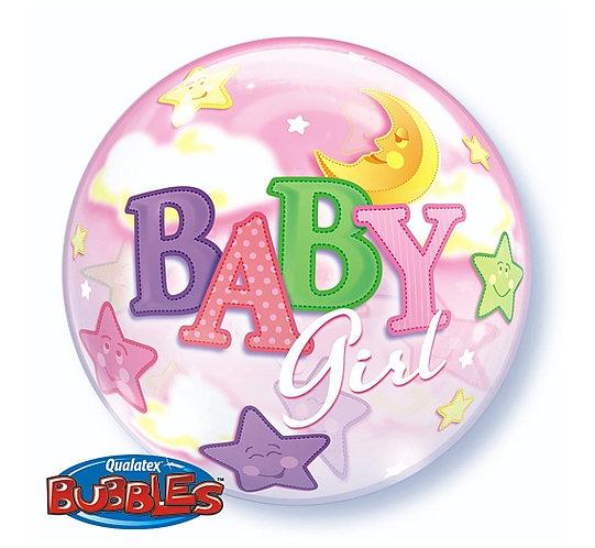"""Balon foliowy 22"""" QL Bubble Poj. """"Baby Girl - Księżyc"""""""