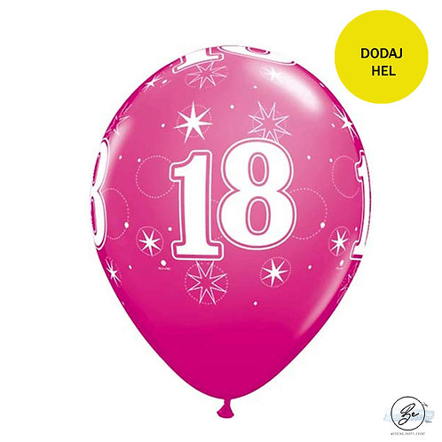"""Zestaw balonów 6 szt QL 11"""" z nadr. """"18 gwiazdki i kółka"""", pastel żurawinowy"""