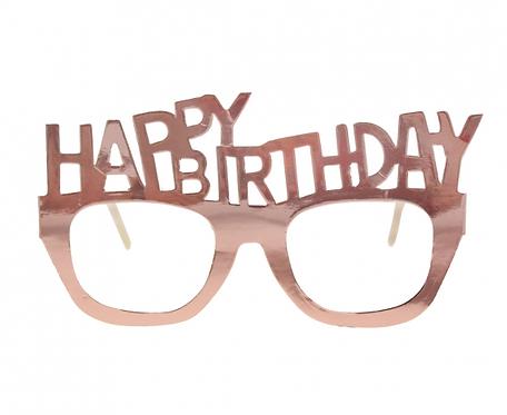 Okulary papierowe B&C Happy Birthday, różowo-złote, 4 szt.