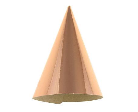 Czapeczki papierowe różowo-złote, metaliczne, B&C 6 szt.