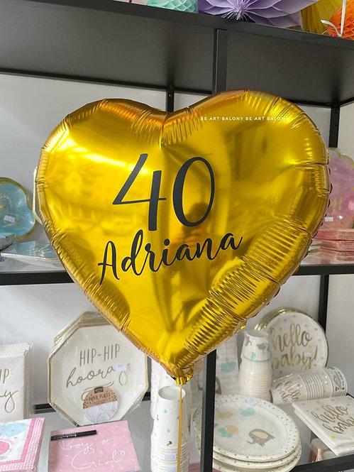 Balon serce 18'' spersonalizowany napełniony helem - rożne kolory
