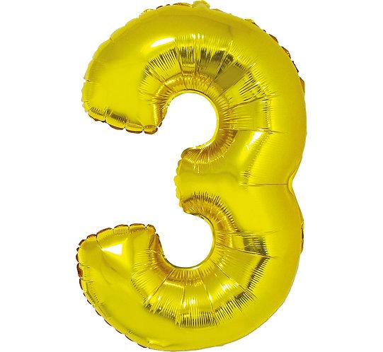 """Balon foliowy """"Cyfra 3"""", złota, 92 cm"""