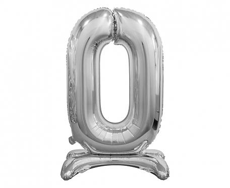Balon foliowy B&C Cyfra stojąca 0, srebrna, 74 cm