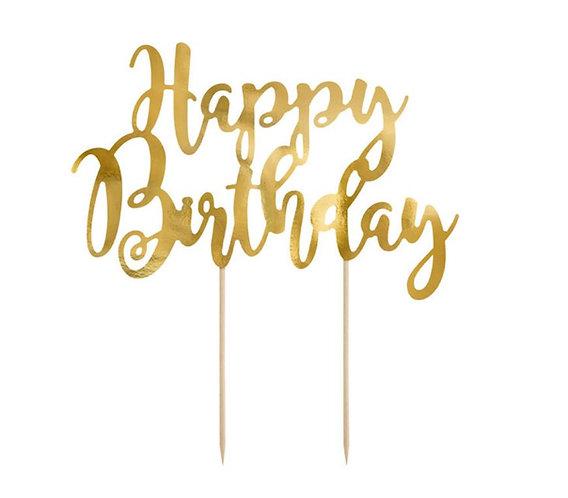 Topper na tort Happy Birthday, złoty