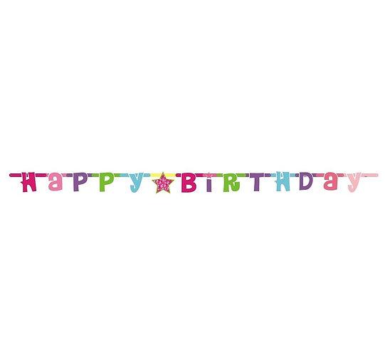 "Girlanda ""Happy Birthday różowe"", 1.8 m"