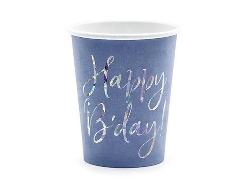 Kubeczki Happy B'day!, granatowy, 220ml