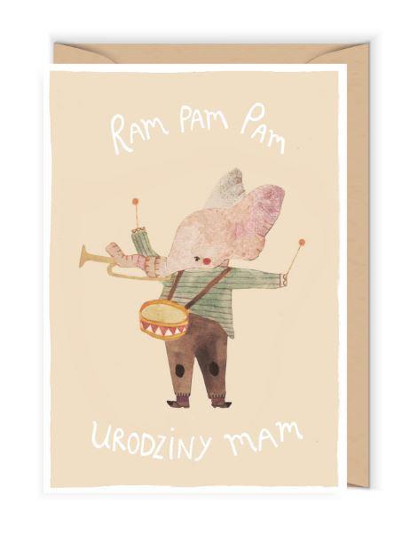 Kartka okolicznościowa - Cudowianki -Ram Pam Pam Kartka urodzinowa