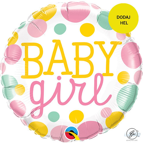 "Balon foliowy 18"" QL CIR ""Baby Girl dots"""