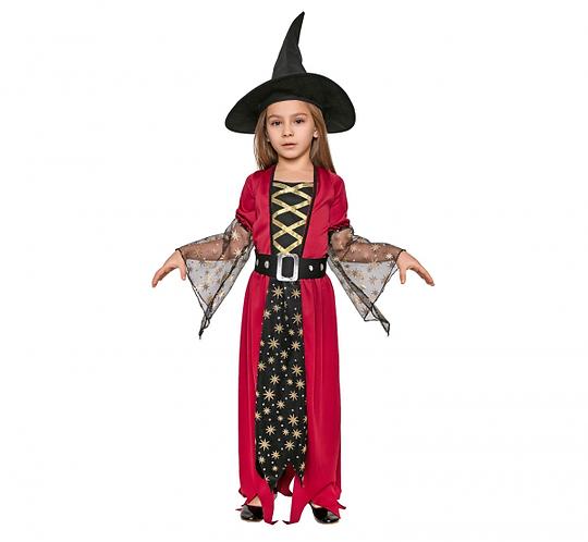 """Strój dla dzieci """"Gwiezdna Czarownica"""" (sukienka, pasek, kapelusz), rozm. 120/"""