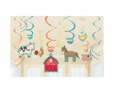 Dekoracja Barnyard Birthday foliowa / papierowa 61 cm