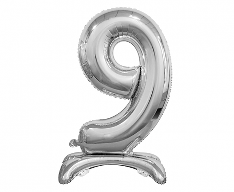 Balon foliowy B&C Cyfra stojąca 9, srebrna, 74 cm
