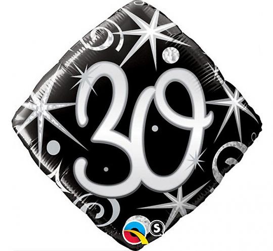 """Balon foliowy 18"""" QL SHP """"30, czarny serpentyny i gwiazdki"""