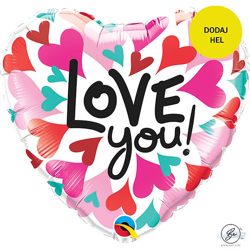 "Balon foliowy 18"" QL HRT ""Love You Converging Hearts"""