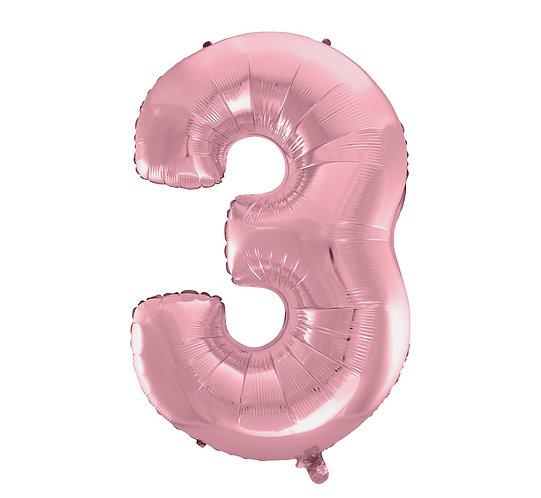"""Balon foliowy """"Cyfra 3"""", j. różowa, 92 cm"""