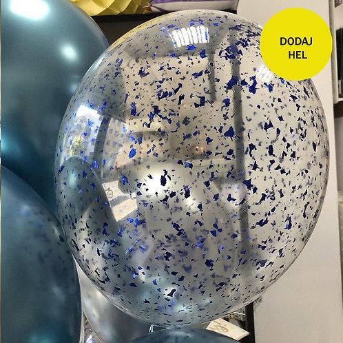 Balon transparentny niebieskie konfetti