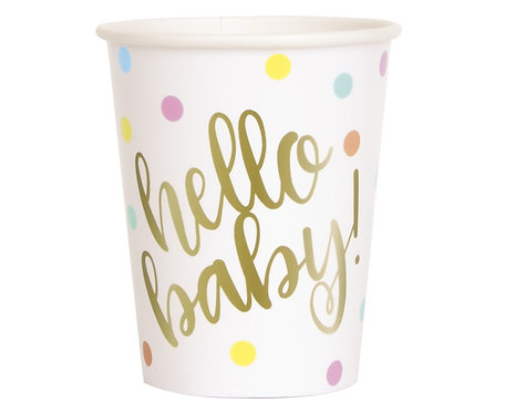 Kubeczki papierowe Hello Baby, złote, 266 ml, 8 szt.