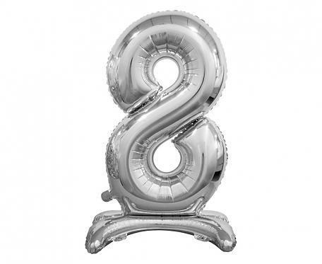 Balon foliowy B&C Cyfra stojąca 8, srebrna, 74 cm