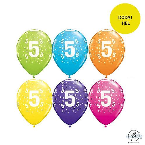 """Zestaw balonów 6 szt  QL 11"""" z nadr. """"5"""", pastel mix tropikalny"""