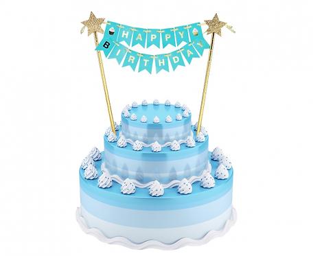 Dekoracja papierowa B&G na tort Happy Birthday, jasnoniebieska