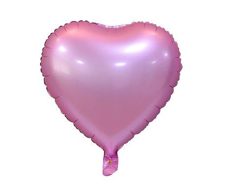 """Balon foliowy """"Serce"""", matowe, różowe, 18"""""""