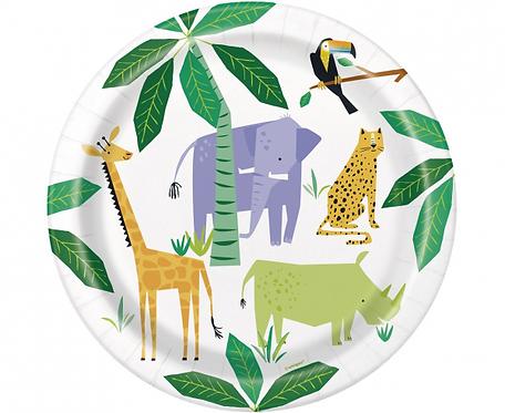 Talerzyki papierowe Animal Safari, 23 cm, 8 szt.