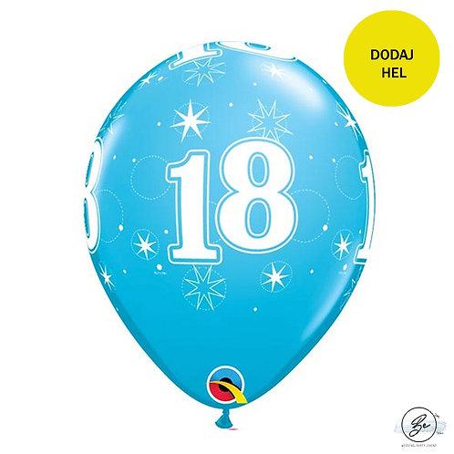 """Zestaw balonów 6 szt  QL 11"""" z nadr. """"18 gwiazdki i kółka"""", pastel turkusowy"""