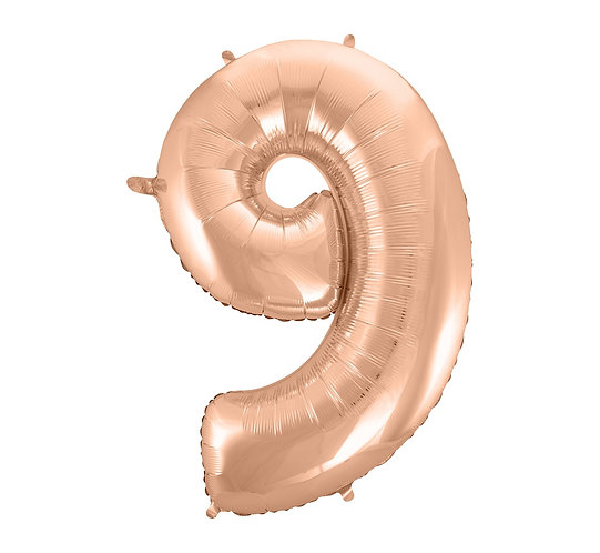 """Balon foliowy """"Cyfra 9"""", różowo-złota, 92 cm"""