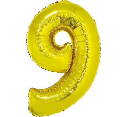 """Balon foliowy """"Cyfra 9"""", złota, 92 cm"""