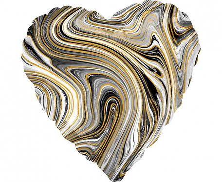 Balon foliowy Marblez serce, czarny