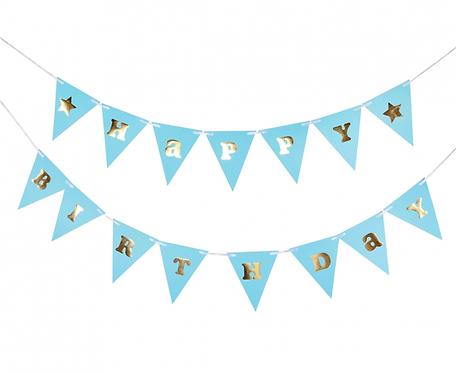 Girlanda papierowa B&G Happy Birthday - Baby Boy, jasnoniebieska