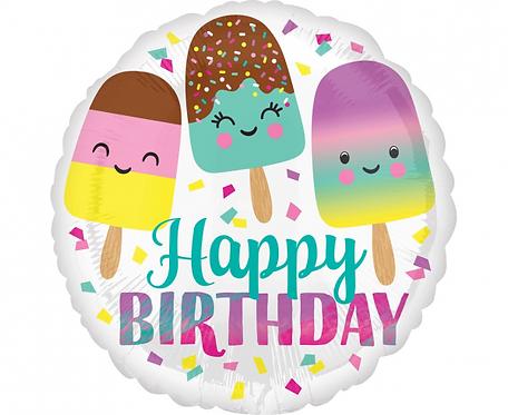 Balon foliowy 18 cali - Happy ice cream birthday