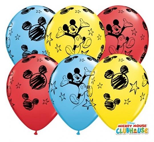 "Balon QL 11"" z nadr. ""Mickey "", pastel mix"