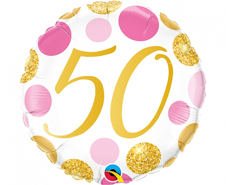 Balon foliowy 18 cali QL 50 Urodziny, różowo-złote grochy