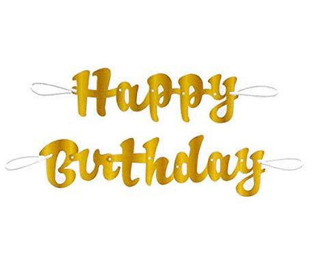 Girlanda Happy Birthday, złoty napis