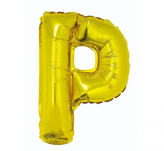 """Balon foliowy """"Litera P"""", złota, 35 cm"""