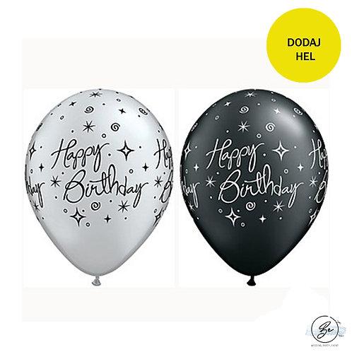 "Balon QL 11"" z nadr. ""Happy Birthday"", metalik czarny i srebrny"