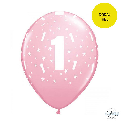 "Balon QL 11"" z nadr. ""1"", pastel różowy"