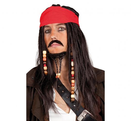 """Peruka """"Tobias"""", z chustą, wąsem i brodą"""