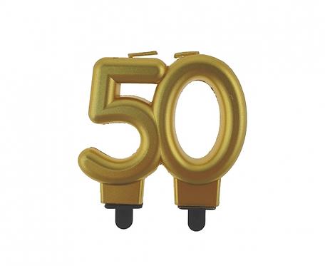 Świeczka B&C cyferka 50, metalik złota